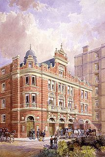 Color drawing of the exterior of the Savoy Theatre, 1881