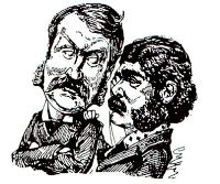 Caricature drawing of William S. Gilbert and Arthur Sullivan