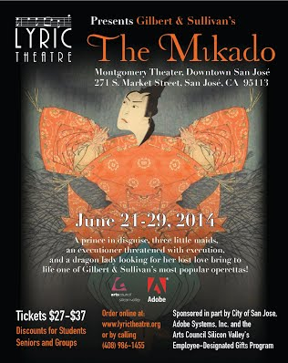 Lyric Theatre of San Jose poster for The Mikado 2014